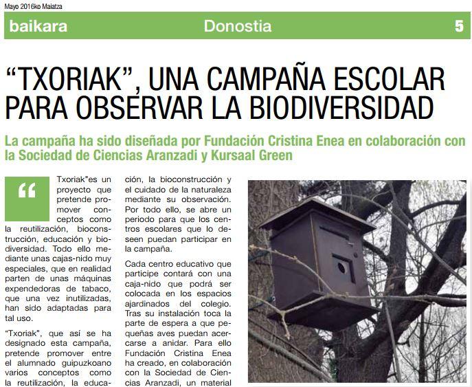 foto noticia: Reportaje sobre nuestra campaña Txoriak en La revista Baikara
