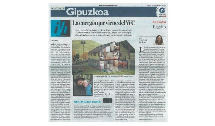 foto noticia: Contraportada en el Diario Noticias de Gipuzkoa sobre la Isla Energética de Oskotz donde asesoramos