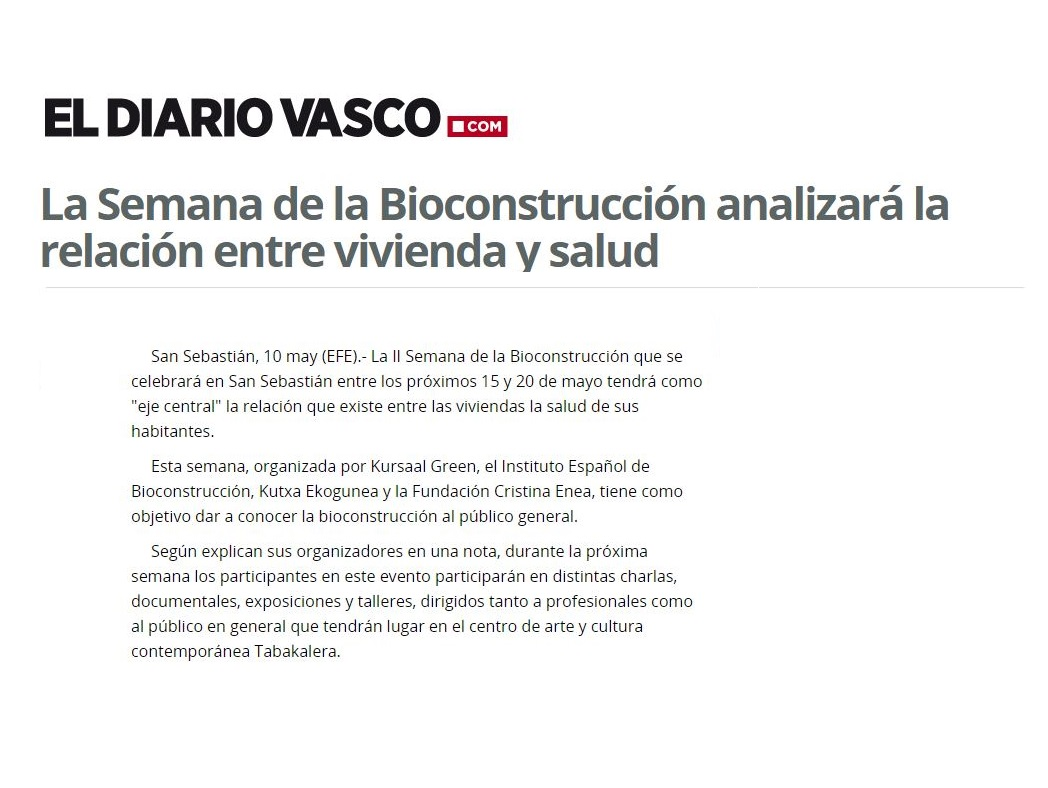 foto noticia: La 2ª Semana de la Bioconstrucción organizada por Kursaal Green, IEB, Cristina Enea y Ekogunea en DiarioVasco.com