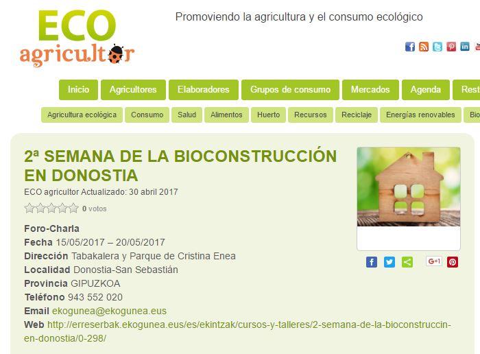 foto noticia: La 2ª Semana de la Bioconstrucción organizada por Kursaal Green, IEB, Cristina Enea y Ekogunea en ECO Agricultor