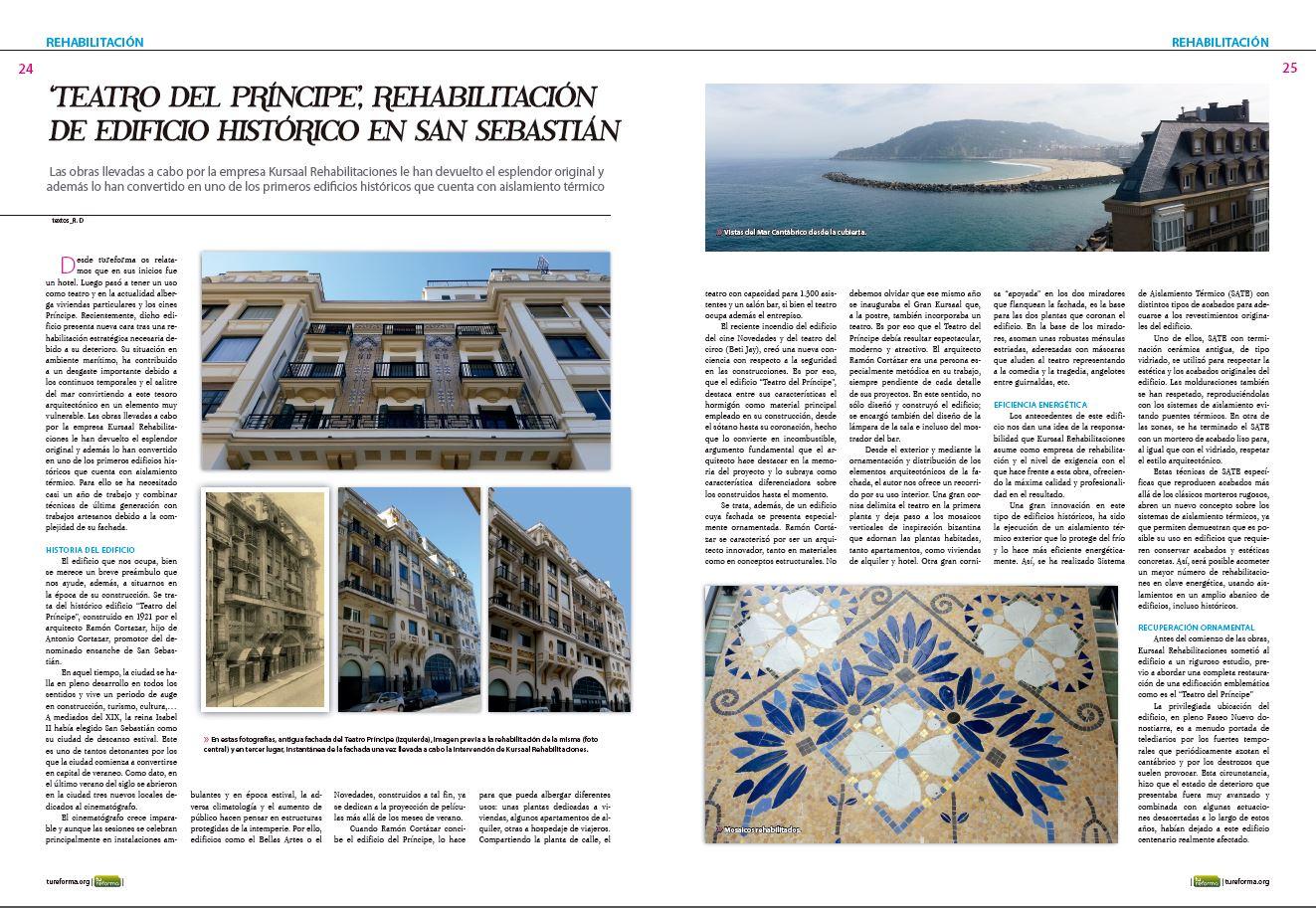 foto noticia: Artículo en revista Tu Reforma sobre la Rehabilitación del edificio El Príncipe realizada por Kursaal Rehabilitaciones.