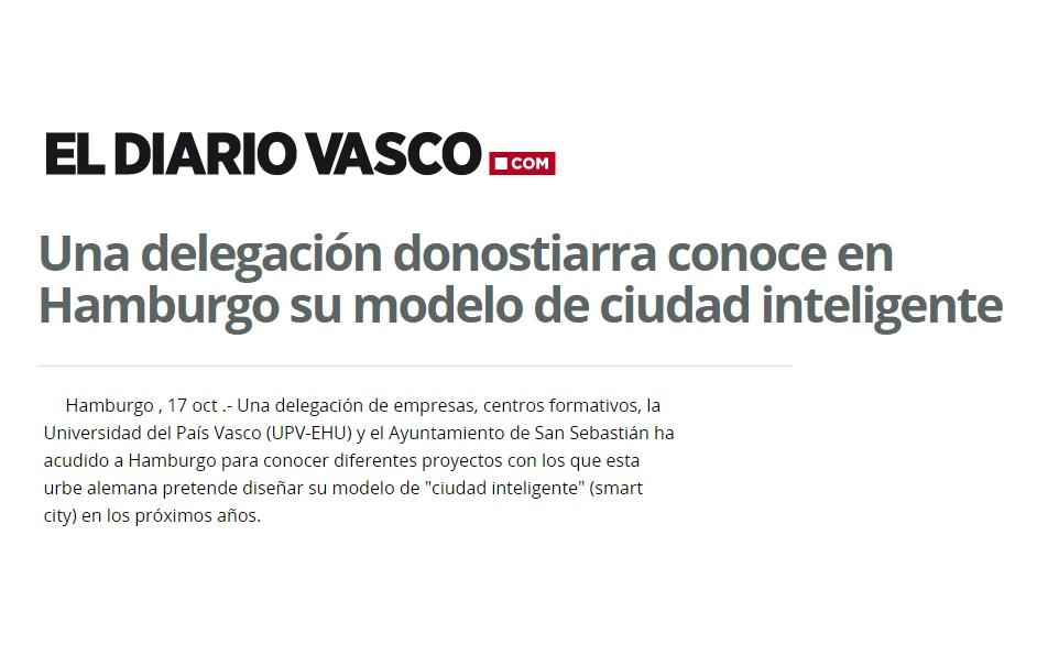foto noticia: El Diario Vasco se hace eco de la Misión Empresarial Internacional a Hamburgo organizada por Fomento San Sebastián, en la que Kursaal hemos participado