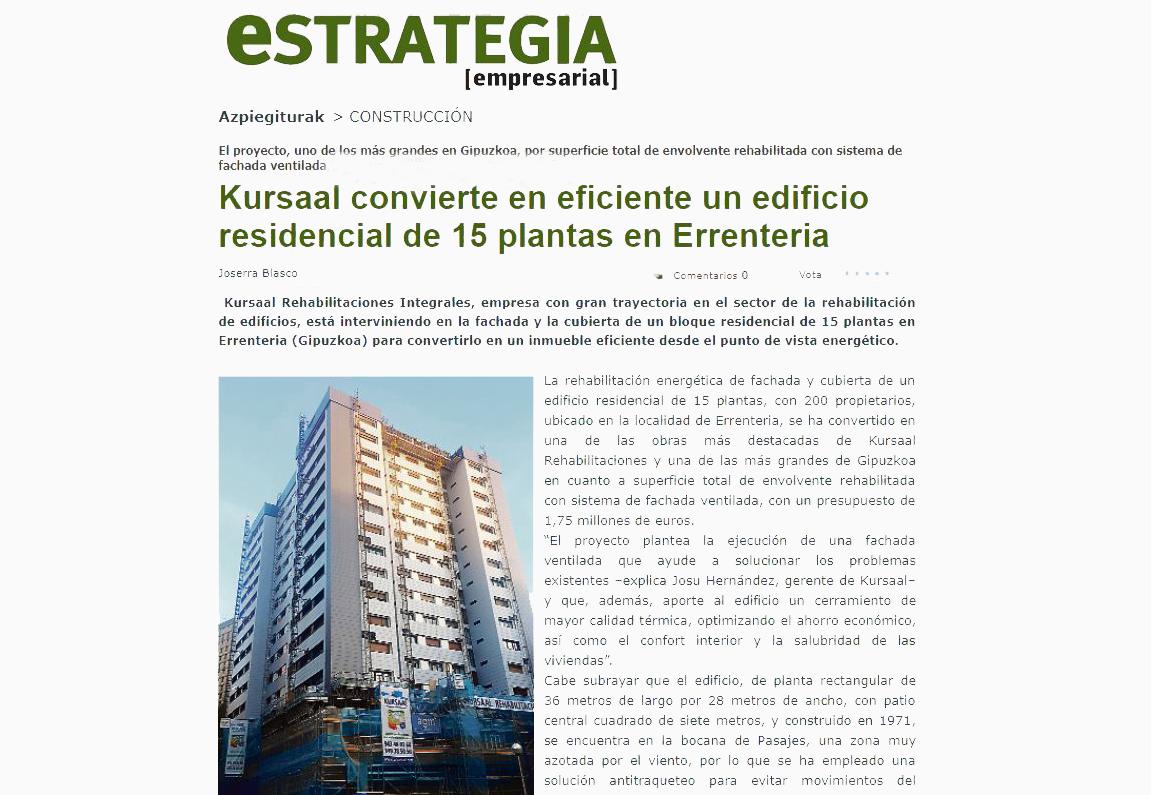 """foto noticia: Artículo en Estrategia Empresarial: """"Kursaal convierte en eficiente un edificio residencial de 15 plantas en Errenteria"""""""