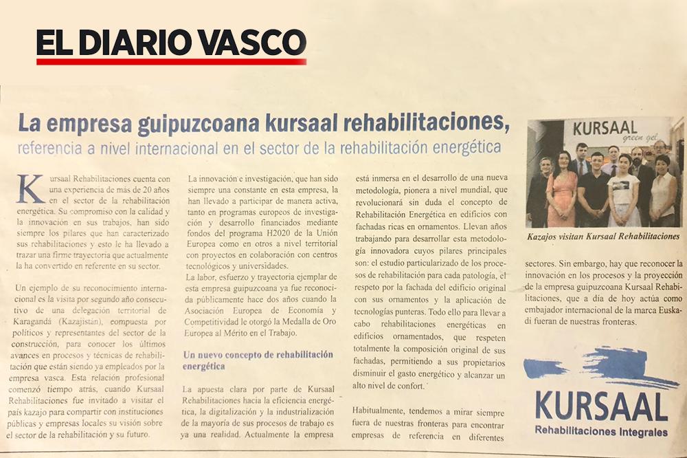 """foto noticia: Artículo en el Diario Vasco: """"Kursaal Rehabilitaciones referencia a nivel internacional"""""""