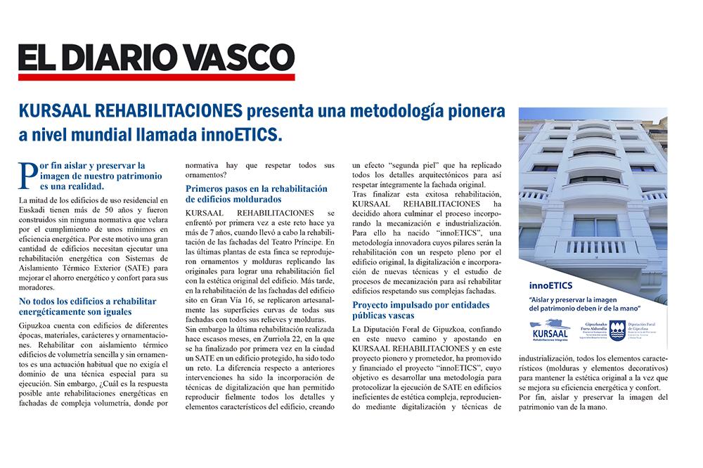"""foto noticia: Artículo en el Diario Vasco: """"Por fin aislar y preservar la imagen de nuestro patrimonio es una realidad"""""""