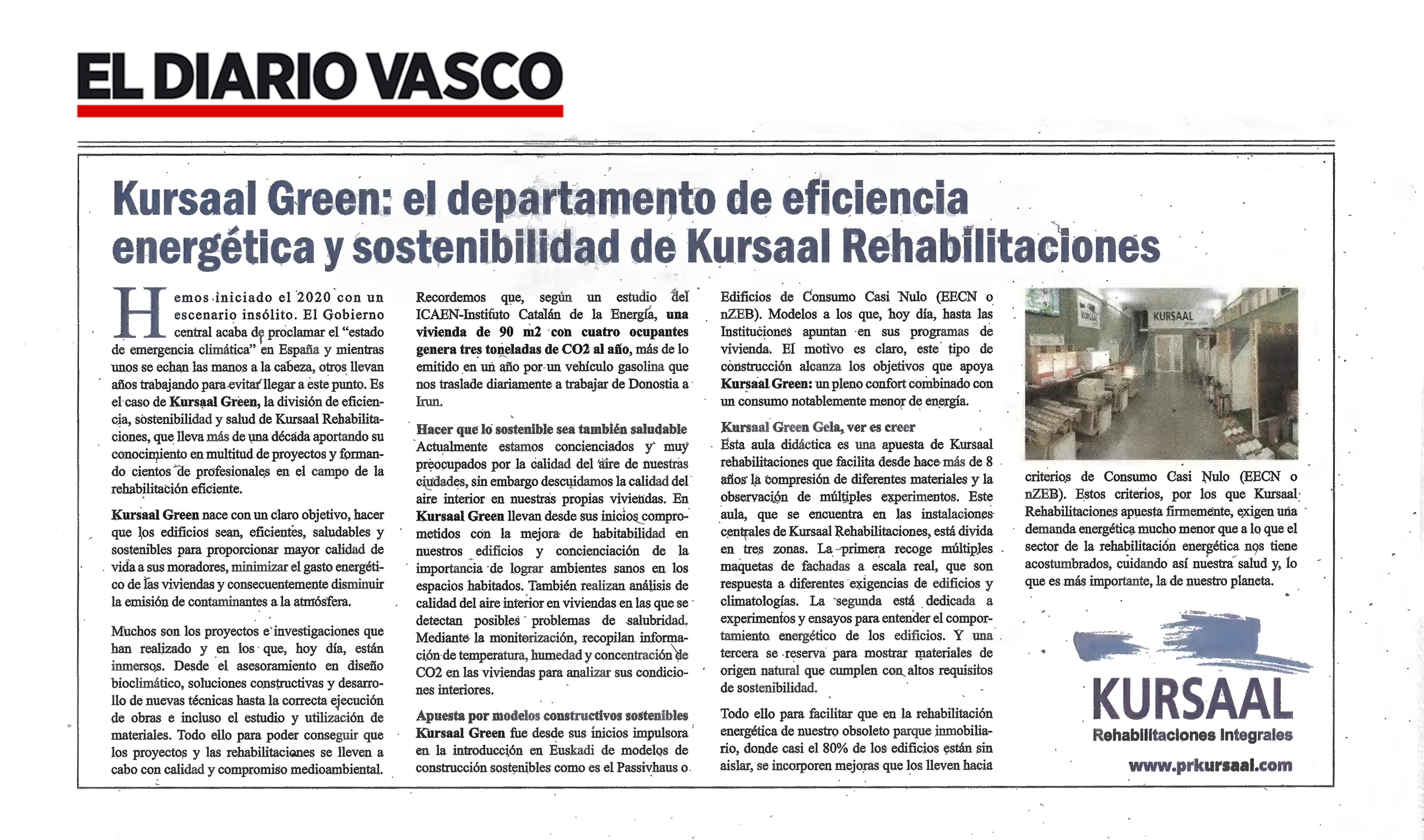 foto noticia: Artículo en el Diario Vasco: Conoce Kursaal Green Gela