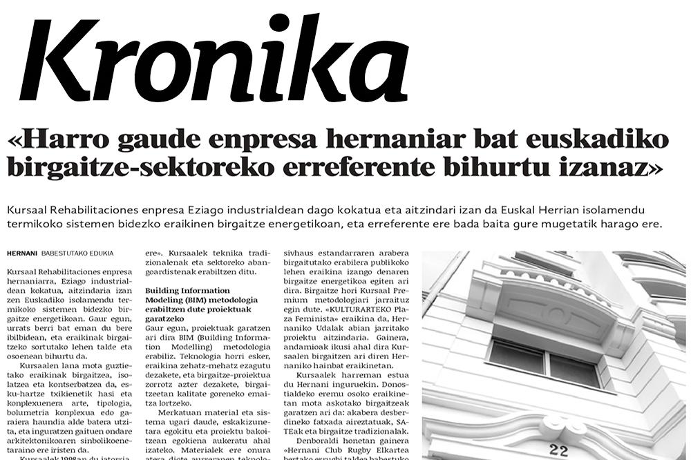 """foto noticia: Artículo en el diario local KRONIKA de Hernani: """"Harro gaude enpresa hernaniar bat euskadiko birgaitze-sektoreko erreferente bihurtu izanaz"""""""