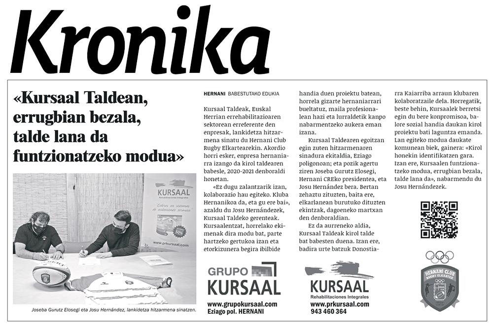 """foto noticia: Artículo en el diario local KRONIKA de Hernani: """"Kursaal Taldean, errugbian bezala talde lana da, funtzionatzeko modua"""""""