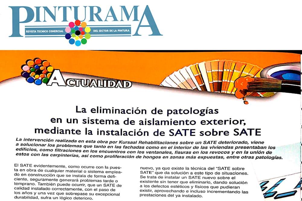 """foto noticia: Artículo en PINTURAMA: """"La eliminación de patologías en un sistema de aislamiento exterior, mediante la instalación de SATE sobre SATE"""""""