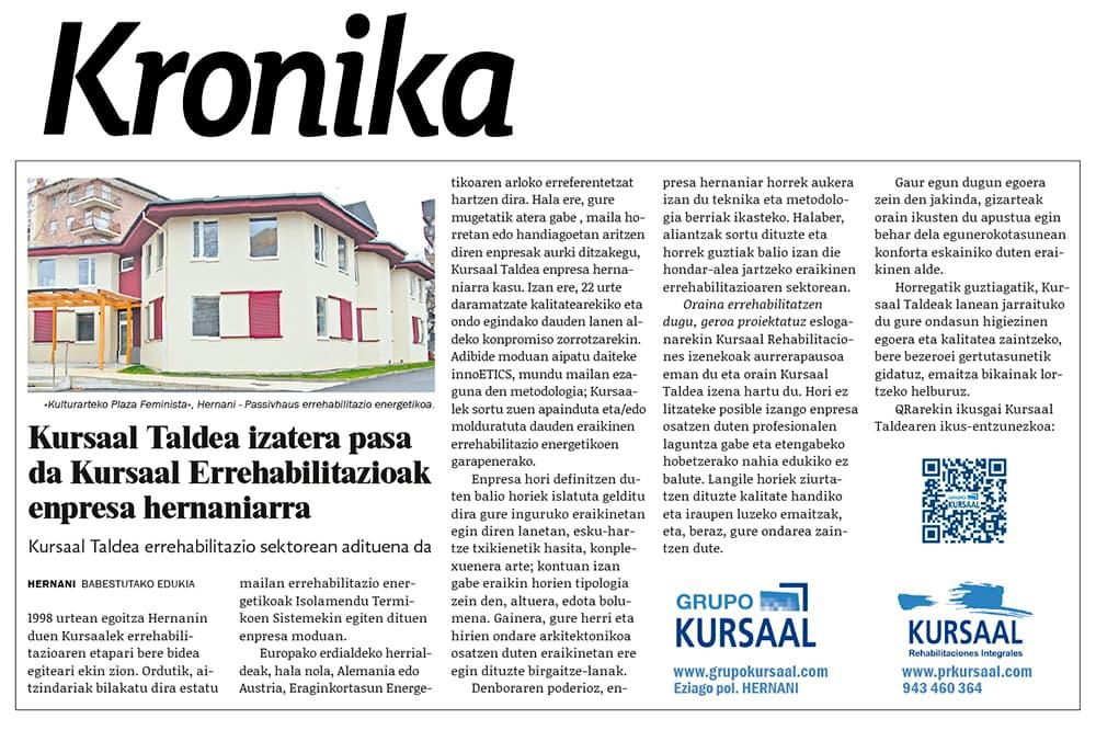 """foto noticia: Artículo en el diario local KRONIKA de Hernani: """"Kursaal Taldea izatera pasa da Kursaal Errehabilitazioak enpresa hernaniarra"""""""