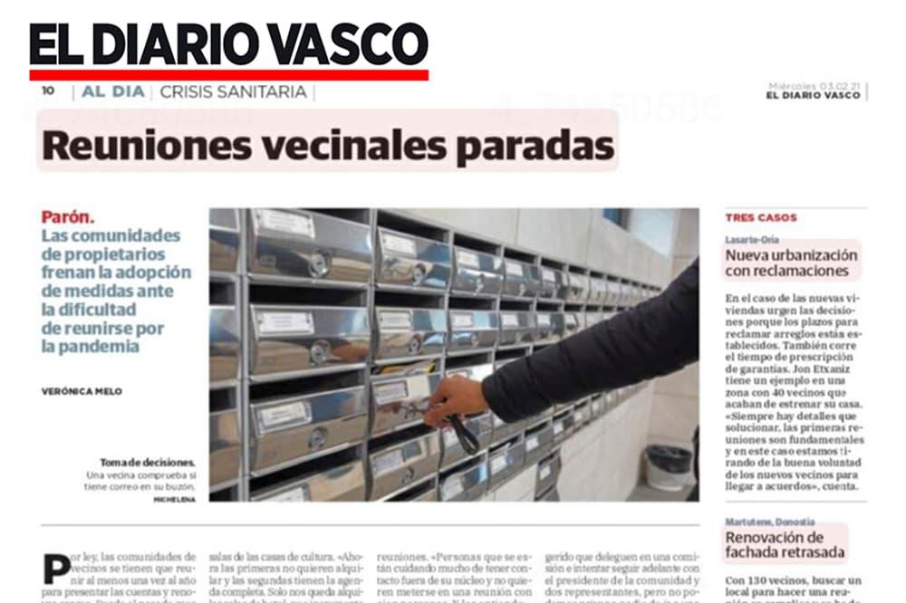 """foto noticia: Artículo en El Diario Vasco con mención a Grupo Kursaal: """"Reuniones vecinales paradas"""""""