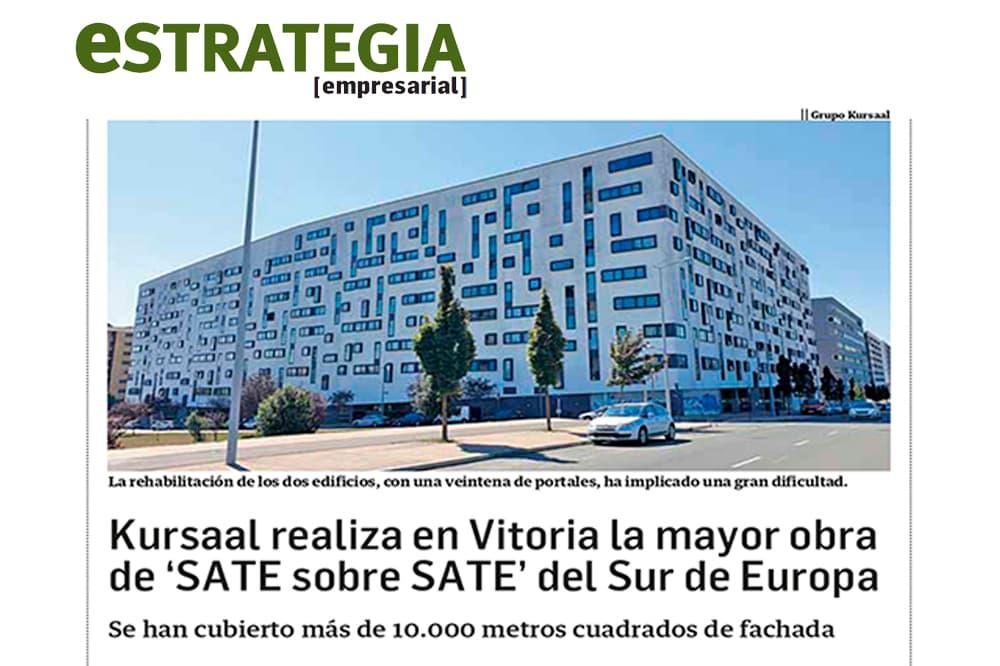 foto noticia: Artículo en Estrategia Empresarial: Kursaal realiza en Vitorial la mayor obra de 'SATE sobre SATE' del Sur de Europa