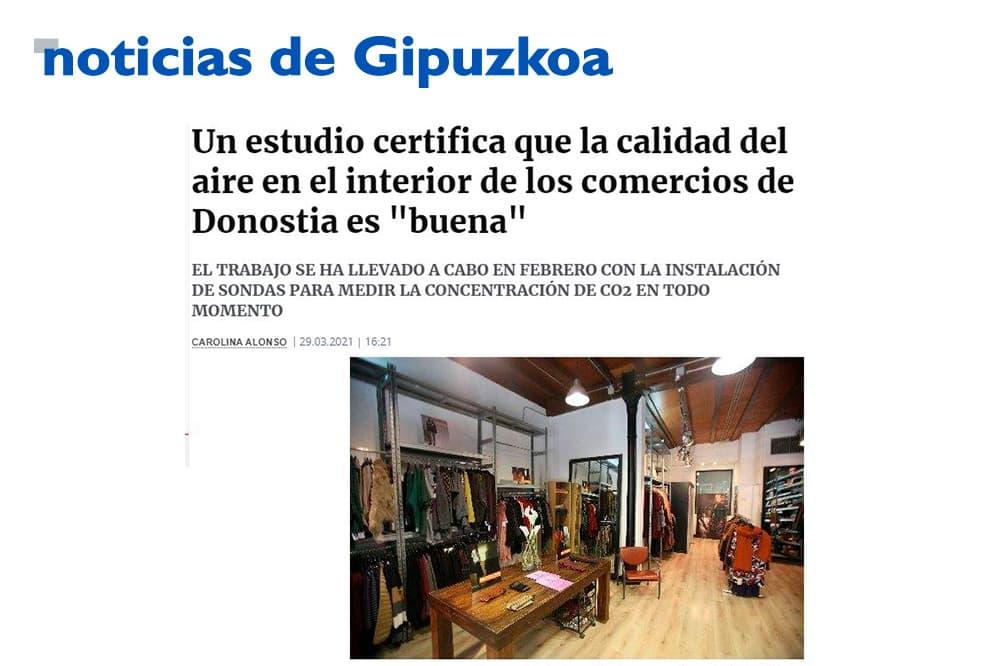 """foto noticia: Artículo en Noticias de Gipuzkoa: """"Un estudio certifica que la calidad del aire en el interior de los comercios de Donostia es """"buena"""""""""""