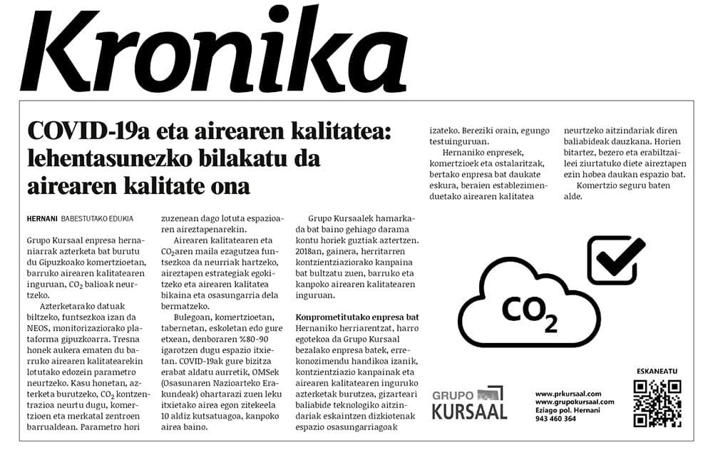 """foto noticia: Artículo en Kronika: """"COVID-19a eta airearen kalitatea: lehentasunezko bilakatu da airearen kalitate ona"""""""