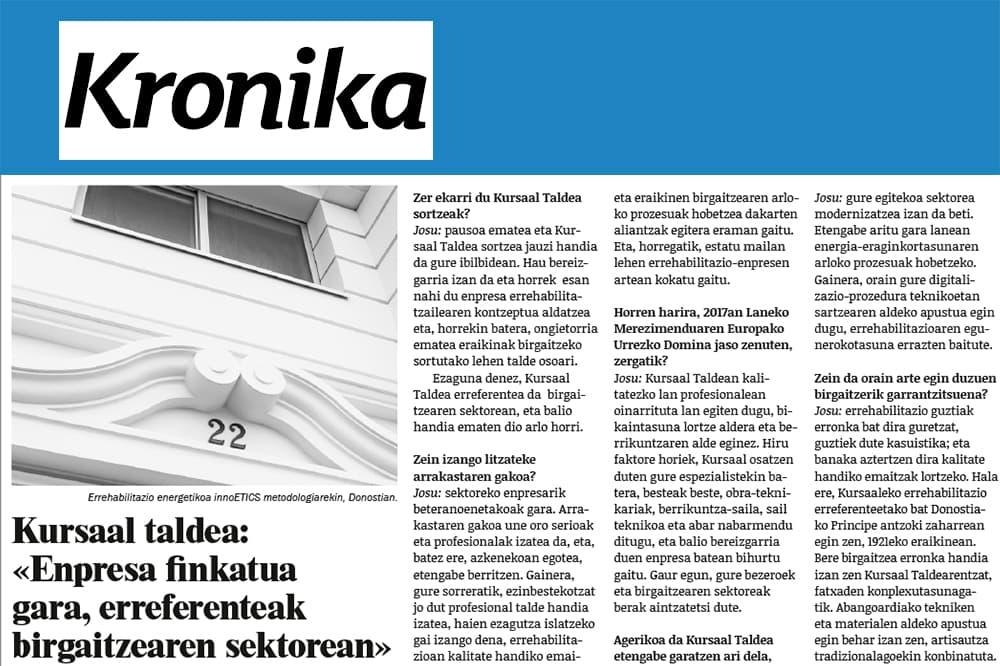 """foto noticia: Entrevista a Josu Hernández en Kronika: """"Enpresa finkatua gara, erreferenteak birgaitzearen sektorean"""""""